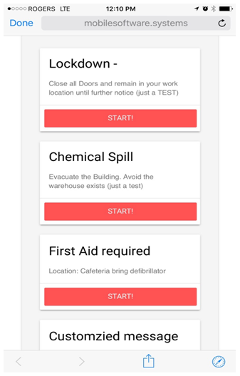 emergency message templates - visitor registration and check in within the app