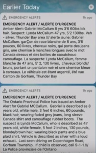 Mass Emergency Notification Toronto Canada. Amber Alert